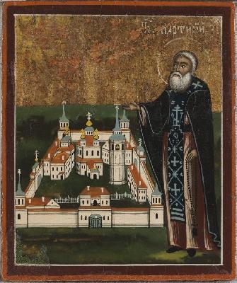 Св. преподобни Мартирий Зеленецки, с изображение на Троицко-Зеленецкия манастир. Руска икона от XIX век.
