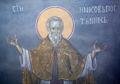 Св. преподобни Иаков Постник. Фреска от църквата ''Благовещение'' в Грачаница, Косово, Сърбия. Около 1318 г.