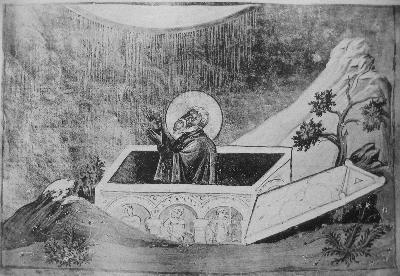 Св. преподобни Иаков Постник. Миниатюра от минологията на Василий II. Константинопол. 985 г.