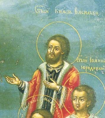 Св. благоверен княз Василий. Фрагмент от икона. Русия. 2-ра половина на XVIII в.