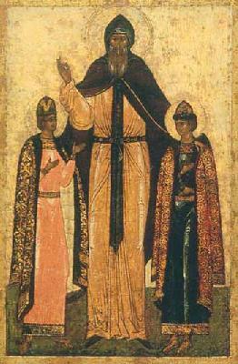 Св. благоверен княз Теодор, Смоленски и Ярославски чудотворец, и синовете му Давид и Константин. Руска икона от Ярославл. 1560 г.