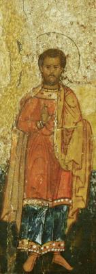 Свети мъченик Савин. Фрагмент от минейна икона. Русия. Началото на XVII в.