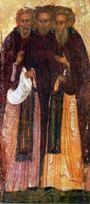 Св. преподобни Иоан, Сергий и Патрикий. Минейна годишна икона от Русия. 1-ва половина на XVI в.
