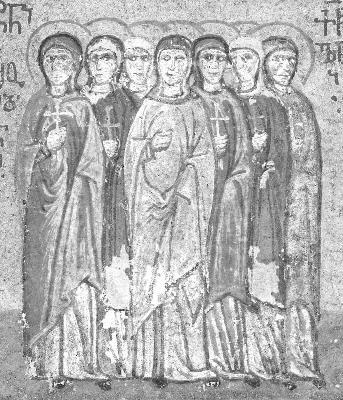 Свв. мъченици Александра, Клавдия, Евфрасия, Матрона, Иулиания, Евфимия и Теодосия. Миниатюра от Атон, Иверски манастир. Края на XV в.