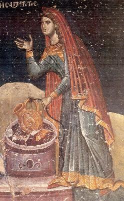 Св. Фотиния самарянка при кладенеца на Иаков. Фреска от храма ''Св. Николай'' в Солун. XIV в.