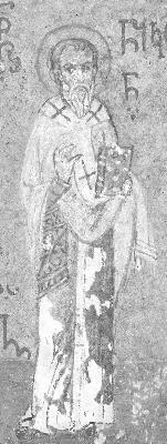 Св. свещеномъченик Никон, епископ Сицилийски. Миниатюра от Атон, Иверски манастир. Края на XV в.