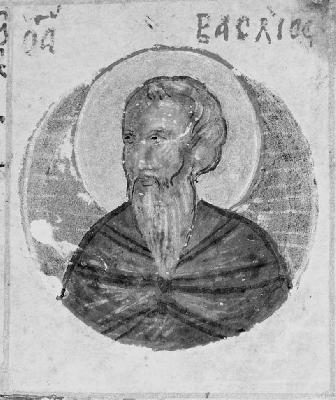 Св. преподобни Василий Нови. Миниатюра от Атон, Иверски манастир. Края на XV в.