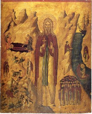 Св. преподбни Иоан Пустинник. Икона от Гърция. XVII век. Манастир '' Св. Иоан Богослов'' на о. Патмос