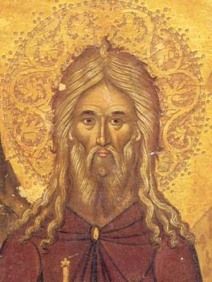 Св. преподбни Иоан Пустинник. Фрагмент от икона от Гърция. XVII век.