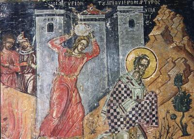 Мъченичество на св. свещеномъченик Ипатий Чудотворец, епископ Гангърски. Фреска от Атон, манастир Дионисиат. 1547 г.
