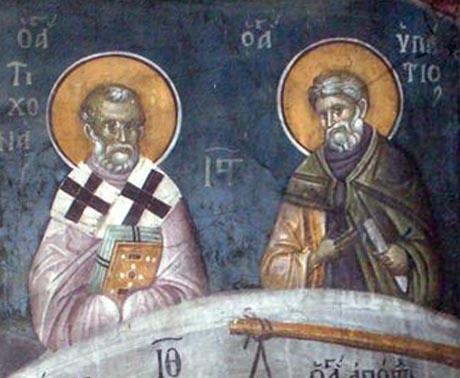 Св. Тихон, епископ Аматунтски чудотворец и св. преподобни Ипатий, игумен Руфински. Фреска от църквата ''Благовещение'' в Грачаница, Косово, Сърбия. Около 1318 г.