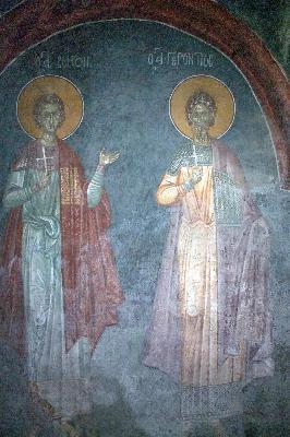 Свв. Созонт и Геронтий. Фреска от църквата ''Благовещение''. Грачаница, Косово, Сърбия. Около 1318 г.