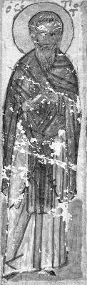 Св. преподобни Тит Чудотворец. Миниатюра от Атон, Иверски манастир. Края на XV в.