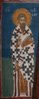 Св. преподобни Георги изповедник, митрополит Митилински. Фреска от църквата ''Христос Пантократор''. Дечани. Косово. Сърбия. Около 1350 г.