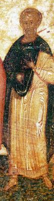 Св. мъченик Терентий. Руска икона от годишен Миней. 1-ва половина на XVI в.