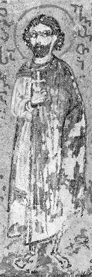 Свети мъченик Сава Готски. Миниатюра от Атон, Иверски манастир. Края на XV в.
