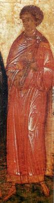 Свети мъченик Леонид. Руска икона от годишен Миней. 1-ва половина на XVI в.