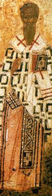 Св. Козма изповедник, епископ Халкидонски. Фрагмент от руска икона от годишен Миней. 1-ва половина на XVI в.