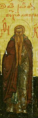 Св. Иоан Ветхопещерник. Фрагмент от минейна икона. Русия. Начало на XVII в.