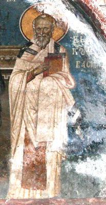 Свети свещеномъченик Василий, епископ Амасийски. Фреска от църквата ''Христос Пантократор''. Дечани, Косово, Сърбия. Около 1350 г.