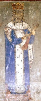 Св. царица Тамара. Фрагмент от фреска в църквата ''Рождество Богородично''. Манастир Бетания. Грузия. XII век.