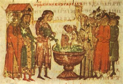 Покръстването на св. цар Борис I Михаил. Миниатюра от Ватиканския препис на Манасиевата хроника