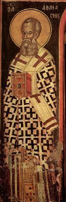 Св. Атанасий Велики, архиепископ Александрийски. Фреска от църквата ''Св. Николай'' в манастира Ставроникита на Атон. 1546 год.