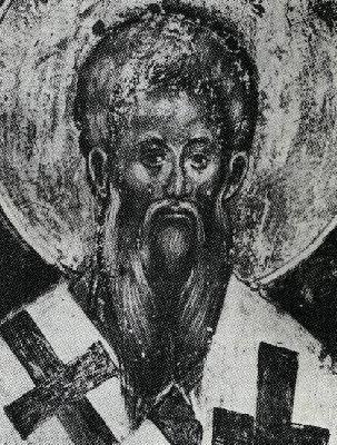 Св. Методий равноапостолен, учител Славянобългарски. Фреска от Сербия - Каленич. XV в.