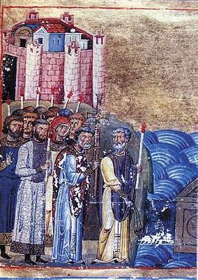 Свв. Константин-Кирил и Методий. Миниатюра от минологията на Василий II. Константинопол. 985 г.