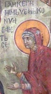 Света мъченица Гликерия. Фрагмент от фреска от църквата ''Благовещение''. Грачаница, Косово, Сърбия. Около 1318 г.