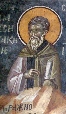 Св. Павсикакий, епископ Синадски. Фреска от църквата ''Благовещение''. Грачаница, Косово, Сърбия. Около 1318 г.