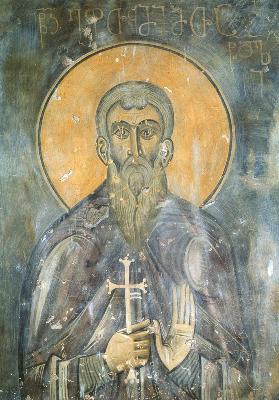 Св. преподобни Евтимий Светогорец. Фреска от Ахталския събор. Грузия. XIII век.
