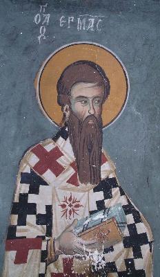 Свети ап. Ерм, епископ Филипополски, апостол от 70-те. Фреска от манастира ''св. Иоан Лампадистис''. Кипър. 1400 год.