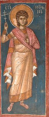 Свети мъченик Иустин Римски. Фреска от църквата ''Христос Пантократор''. Дечани, Косово, Сърбия. Около 1350 г.
