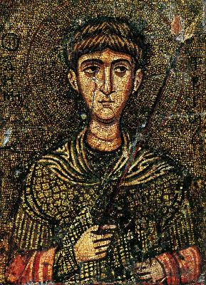 Св. великомъченик Димитър Солунски. Мозаична икона от XII в. Манастир ''св. Екатерина'' на Синай.