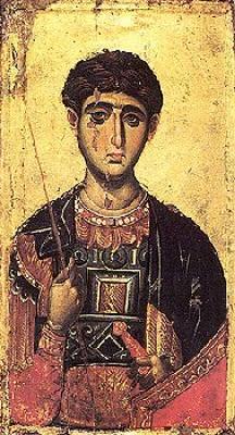 Св. великомъченик Димитър Солунски. Фрагмент от икона от манастира Ватопед на Атон. XIV век.